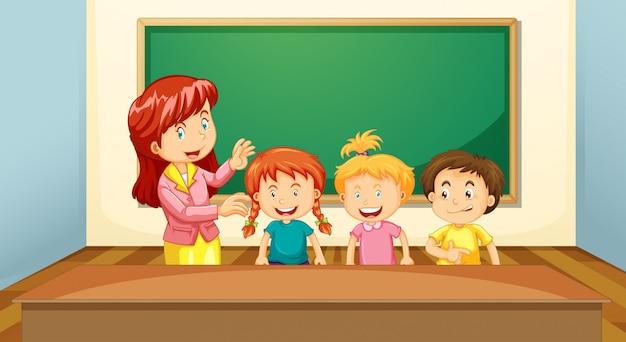 Insegnante e studenti in classe Vettore Premium