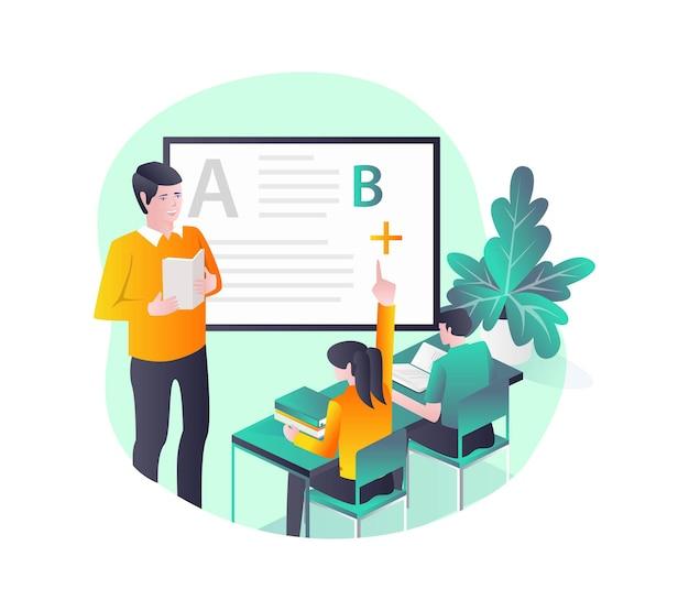 Insegnante e studenti che studiano in classe con la lavagna