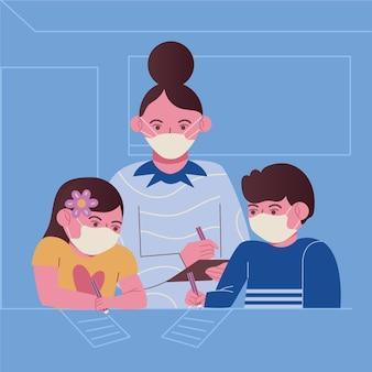 Insegnante e studenti che indossano la maschera per il viso in classe