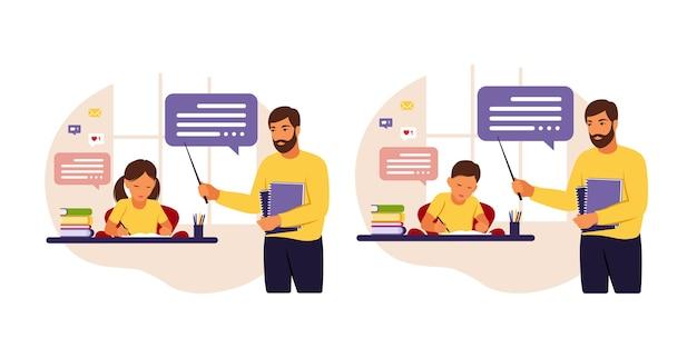 L'insegnante insegna ai bambini a casa oa scuola. illustrazione concettuale per la scuola, l'istruzione e l'istruzione domestica. insegnante che aiuta i bambini con i compiti. stile piatto