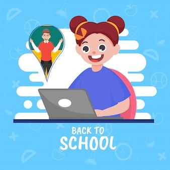 Insegnante che insegna in linea nel computer portatile alla ragazza sveglia sul fondo dell'elemento dei rifornimenti di istruzione bianco e blu per il concetto di scuola