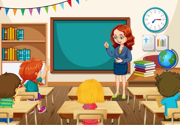 Insegnante che insegna agli studenti nella scena della classe