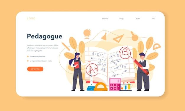 Modello web dell'insegnante o pagina di destinazione. professore in piedi davanti alla lavagna. lavoratori scolastici o universitari con strumenti di disciplina professionale.