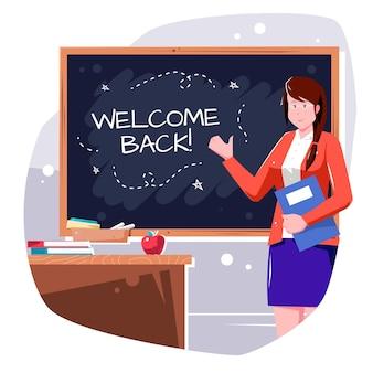 L'insegnante dà il bentornato a scuola
