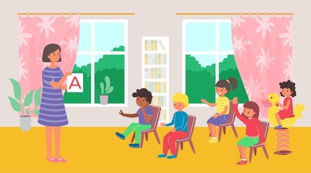 Insegnante con bambini a lezione all'asilo Vettore Premium
