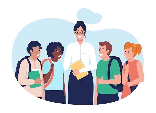 Insegnante con gli studenti 2d illustrazione vettoriale isolato. persone multirazziali felici personaggi piatti su sfondo di cartone animato. bambini dopo la lezione. tutor con la scena colorata dei suoi studenti