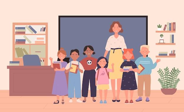 Insegnante con studenti in classe