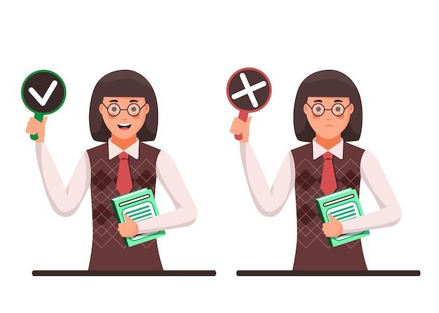 Insegnante donna tenere segno di spunta cartello e rosso vietato