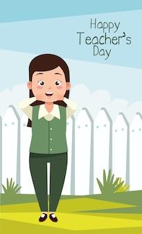 Insegnante donna con scritte del giorno degli insegnanti nel campo