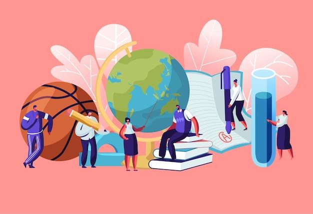 Personaggi degli insegnanti con strumenti educativi e cancelleria come libri ball globe