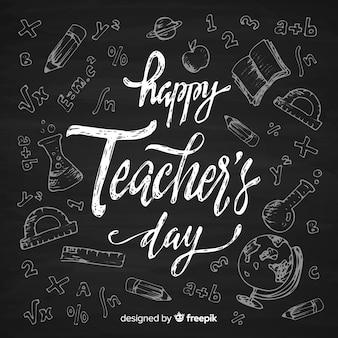 Concetto di giorno di insegnanti con scritte Vettore Premium