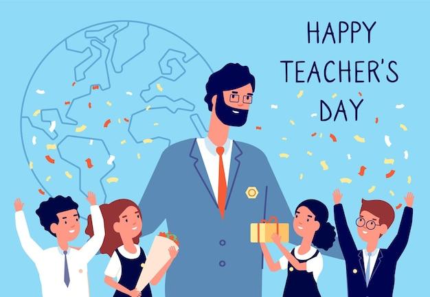 Festa degli insegnanti. fiori all'insegnante, studenti bambini in uniforme. festa internazionale dell'istruzione. bambini felici con illustrazione vettoriale regalo. giornata felice dell'insegnante, saluto e sorriso degli studenti