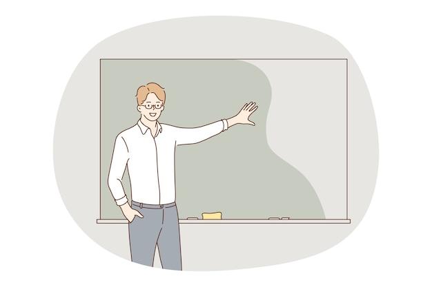 Insegnamento a scuola, insegnante, concetto di educazione. personaggio dei cartoni animati di giovane uomo positivo insegnante