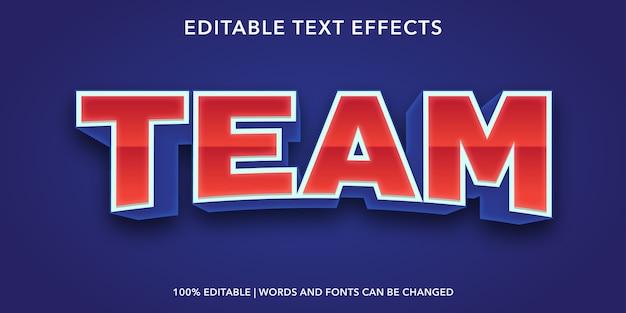 Effetto di testo modificabile in stile 3d squadra