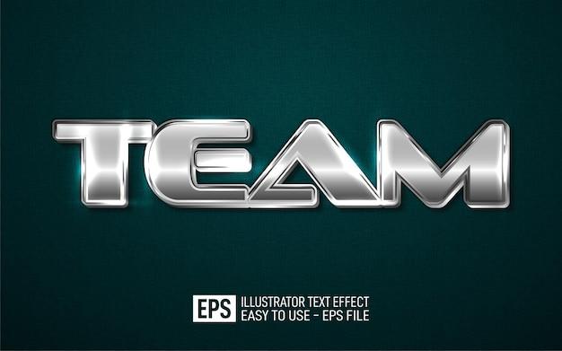 Modello di effetto di stile modificabile di testo 3d squadra Vettore Premium