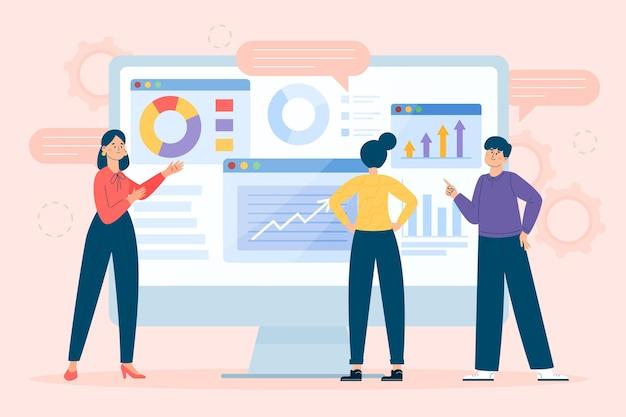 Team che analizza i grafici di crescita
