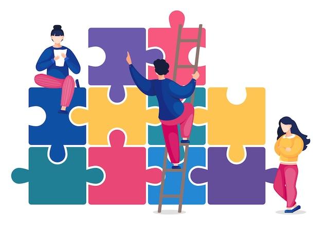 Concetto di team building, lavoro di squadra congiunto in azienda