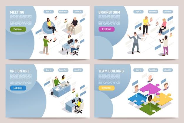 Pagina di destinazione isometrica di team building con persone che fanno brainstorming