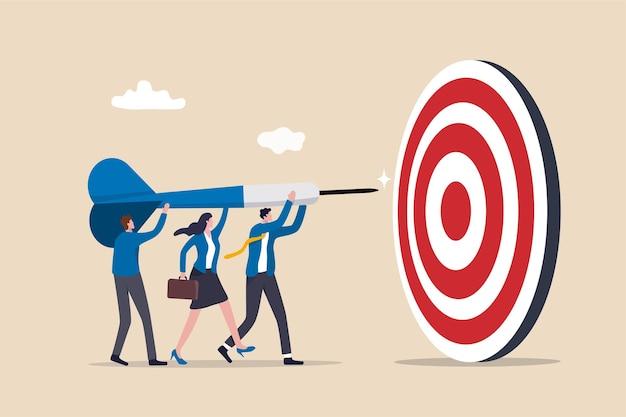 Obiettivo aziendale di squadra, collaborazione di lavoro di squadra per raggiungere l'obiettivo