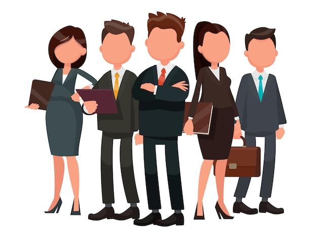 Squadra di uomini d'affari guidata dal leader. illustrazione vettoriale in uno stile piatto