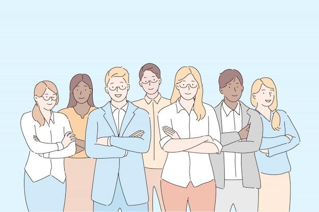 Squadra di uomini d'affari, lavoro di squadra, concetto di collaborazione