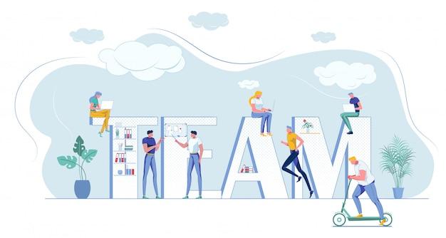 Team capital letters con minuscoli collaboratori in ufficio
