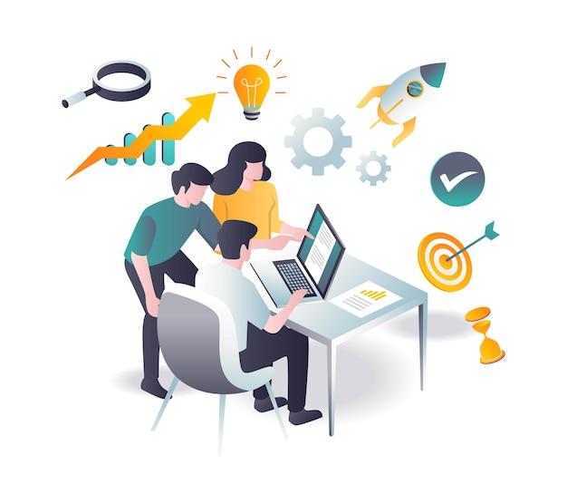 Il team raccoglie idee e informazioni sui dati per lo sviluppo del business di investimento