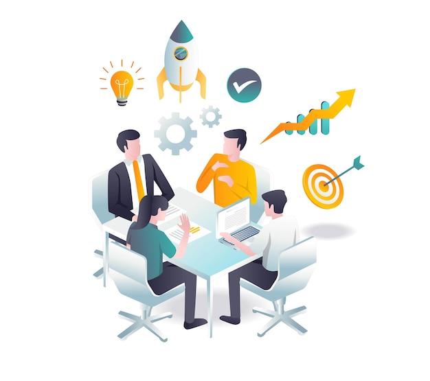 Il team raccoglie idee e informazioni per lo sviluppo del business di investimento