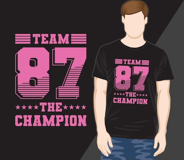 Squadra ottantasette il design della maglietta tipografica campione