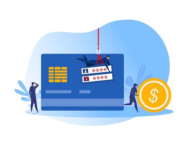 Team hacker rubare la carta di credito con moneta o denaro contante concetto illustrazione