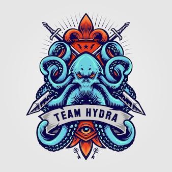 Logo di illustrazioni di polpo militare della mascotte di team hydra kraken