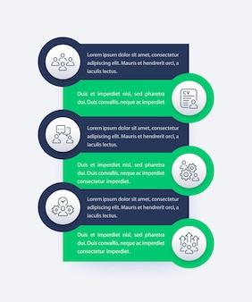 Gestione del team, progettazione infografica hr con icone di linea