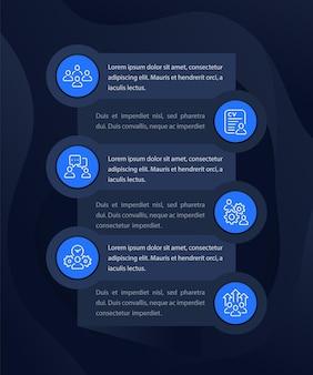Gestione del team, risorse umane, persone che interagiscono con infografiche con icone di linea