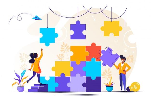 Metafora del team. persone che collegano elementi puzzle