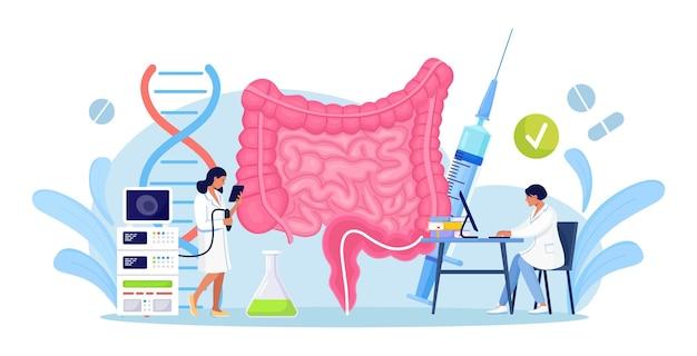 Team di medici esegue colonscopia, diagnostica dell'intestino. salute intestinale. piccoli medici che esaminano il tratto gastrointestinale e l'apparato digerente. microrganismi intestinali e flora amica