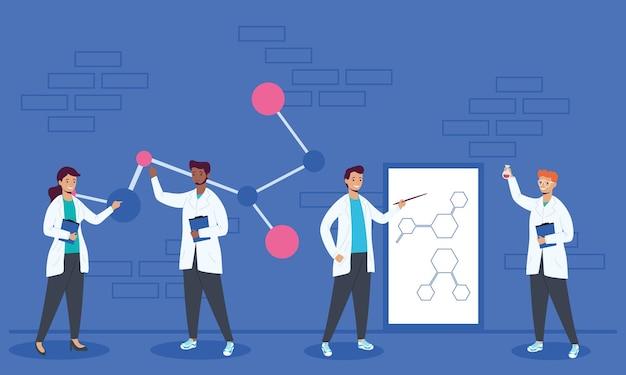 Icone di personaggi di lavoratori scientifici di squadra