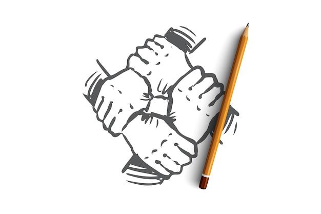 Spirito di squadra, insieme, connessione, concetto di partnership. mano disegnata mano che tiene, schizzo di concetto di squadra.