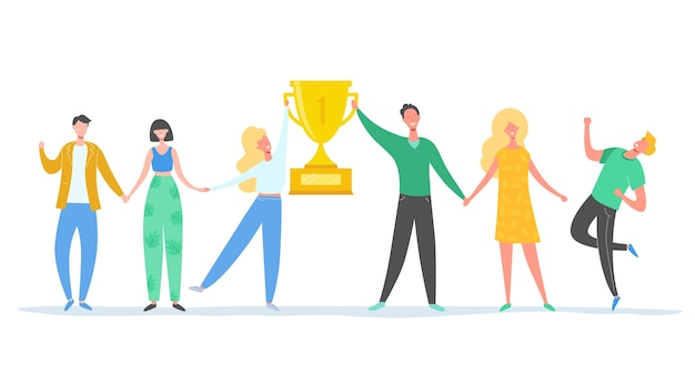 Illustrazione di concetto di successo di squadra. persone leader di affari che celebrano la vittoria. uomo e donna che ottengono ricompensa. trofeo vincente dell'uomo d'affari e della donna di affari. premio per la vittoria