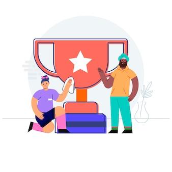 Successo di squadra con il concetto di trofeo