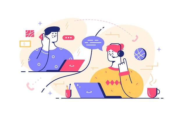 Team di parlare con l'illustrazione del cliente