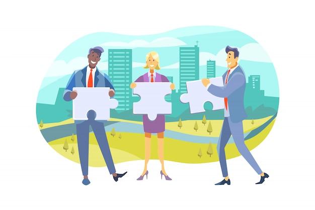 Squadra, lavoro di squadra, collaborazione, cooperazione, concetto di business