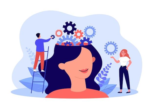 Squadra di piccole persone che lavorano sull'equilibrio degli ingranaggi nella testa femminile. uomo che inizia l'illustrazione piana di vettore della macchina cognitiva. formazione, concetto di autoeducazione per banner, progettazione di siti web o pagine web di destinazione