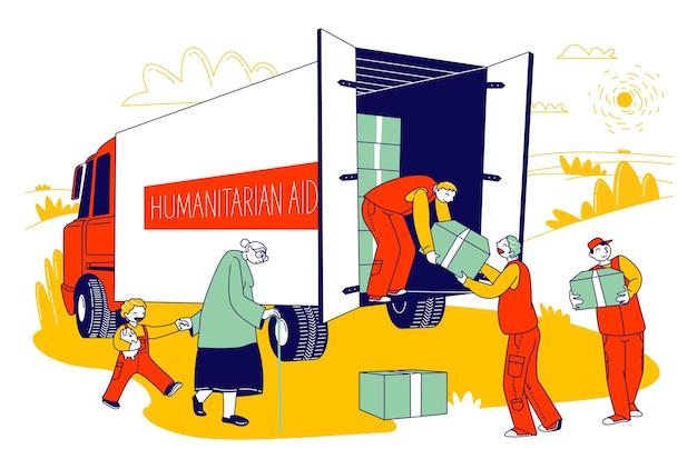 Squadra di volontari nel furgone degli aiuti umanitari che dà le scatole di aiuto ai rifugiati, illustrazione piana del fumetto