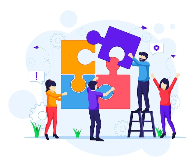 Concetto di lavoro di squadra, persone che collegano elementi di puzzle pezzo. leadership aziendale, illustrazione di partnership