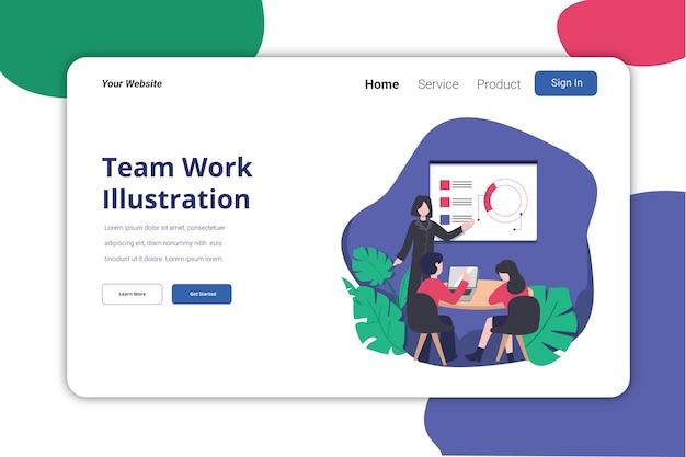 Design piatto del modello dell'illustrazione della pagina di lavoro di squadra