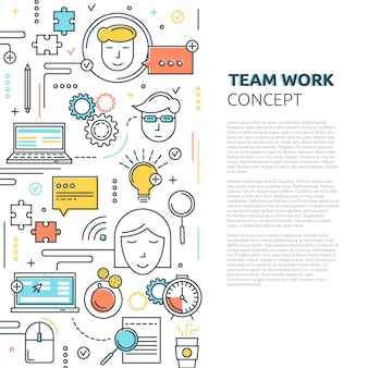 Team work vertical linear concept