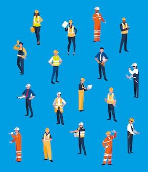 Set di caratteri di persone di team lavoratori Vettore Premium
