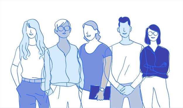 Squadra di giovani talenti gruppo di personaggi maschili e femminili