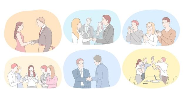 Lavoro di squadra, accordo, sviluppo nel concetto di ufficio. la gente di affari partner colleghi di lavoro che agitano le mani