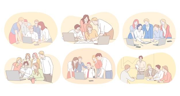 Lavoro di squadra, brainstorming, cooperazione commerciale, collaborazione, concetto di progetto di successo. giovani impiegati che discutono di progetti e lavorano insieme su startup in team aziendali